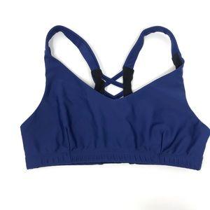 Onzie Flow Lace Up Back Weave Sports Bra Blue M/L